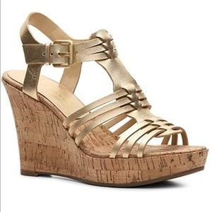 Audrey Brooke Gold Leather Carina Wedge Sandal-11M